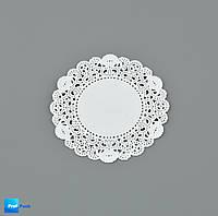 Ажурная салфетка, бумажная, круглая, белая, 90 мм, 100 шт/уп