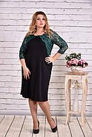 Платье больших размеров с зеленой гипюровой отделкой 0643