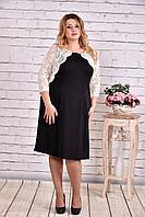 Платье больших размеров с молочной гипюровой отделкой 0643