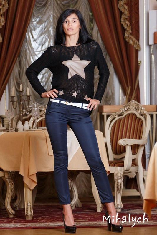 М163 Женские брюки укороченные синий