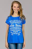 Женская футболка летучая мышь летняя голубая с принтом трикотажная вискоза (Украина) 46