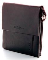 Мужская кожаная сумка планшет ST Две ручки Коричневая