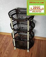 Пластиковая этажерка LUX на 4яруса, коричнево-кофейная