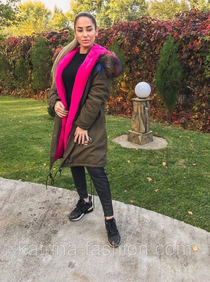 Женская модная зимняя парка с капюшоном (2 цвета) - KATRINA FASHION - оптовый  интернет 5a5c3ba1f1f