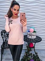 Женский модный свитер с пришитыми стразами (2 цвета), фото 1