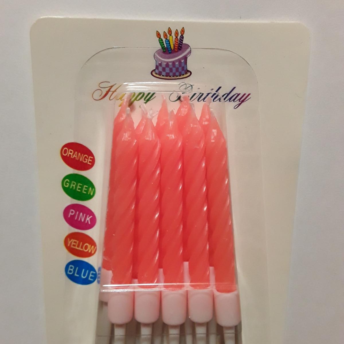 Свечи для торта яркие. Коралл 10 шт.