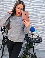 Женский красивый свитер декорирован жемчугом и стразами (расцветки), фото 1