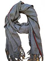 Теплый палантин шарф с бахромой Оверлок однотонныйассорти цветов широкий
