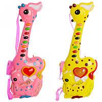 Гитара 748 (120шт) 36,5см, 2 цвета, звук,свет, на бат-ке,в кульке, 36,5-15-4см