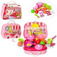 Посуда 008-915A (24шт) кастрюля,сковорода,кухон.принадлежности,продукты,26предм,в чемодане,26-21-9см