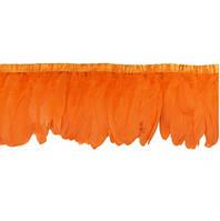 Перья декоративные гуся на ленте Оранжевые 25 см