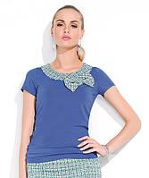 Женский Топ Muriel Zaps синего цвета с воротничком. Коллекция весна-лето.