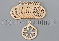 Фигурки деревянные круг со снежинкой 40х30мм/1шт для декупажа