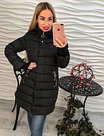 Женская красивая зимняя куртка/пальто больших размеров с брошью и капюшоном (3 цвета) темно-синий, 50