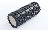 Роллер для занятий йогой массажный EVA  l-33см (d-14см, черный)