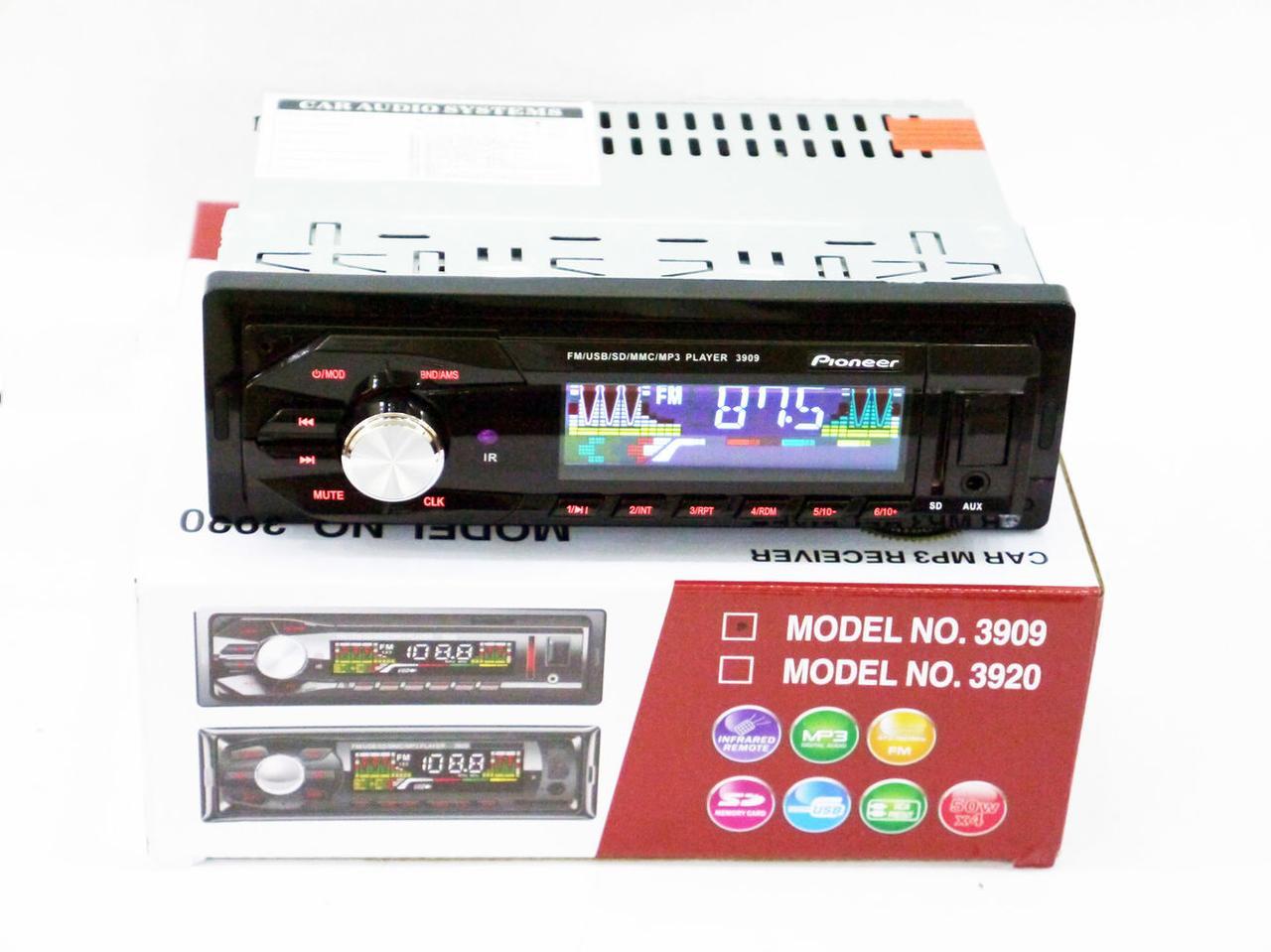 Автомагнитола Pioneer 3909 RGB подсветка