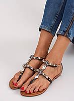 Черные  женские сандалии с камнями JH37 39,38,37, фото 1