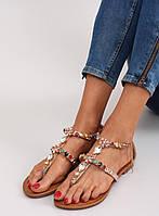 Бежевые женские сандалии с камнями JH37 40, фото 1