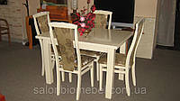Стол обеденный раскладной Петрос слоновая кость и белый