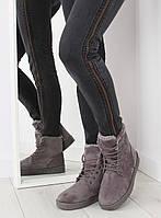 01-04 Серые женские ботинки-угги DD65P 37