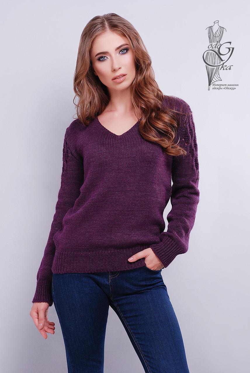 Красивые женские свитера Ажур-5 из шерстяной нити