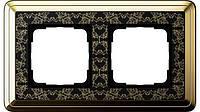 Рамка 2-пост. GIRA ClassiX Art латунь/чёрный