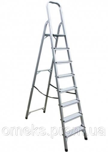 Стремянка алюминиевая ITOSS 918 - 8 ступ., рабочая высота 3,7 м, длина 2,43 м, высота площ. 1,66 м BPS