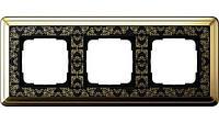 Рамка 3-пост. GIRA ClassiX Art латунь/чёрный