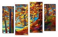 Модульная картина 3d желтые листья