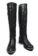 Модные черные зимние женские кожаные сапоги VIKING на меху ( европейка, шерсть )