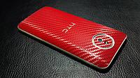 """Декоративная защитная пленка для HTC Desire 609D """"карбон красный"""""""