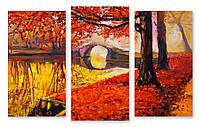 Модульная картина опавшие красные листья 3д