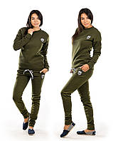 Женский спортивный костюм на флисе 170 олива СП