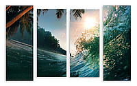 Модульная картина волна и пальма 3D