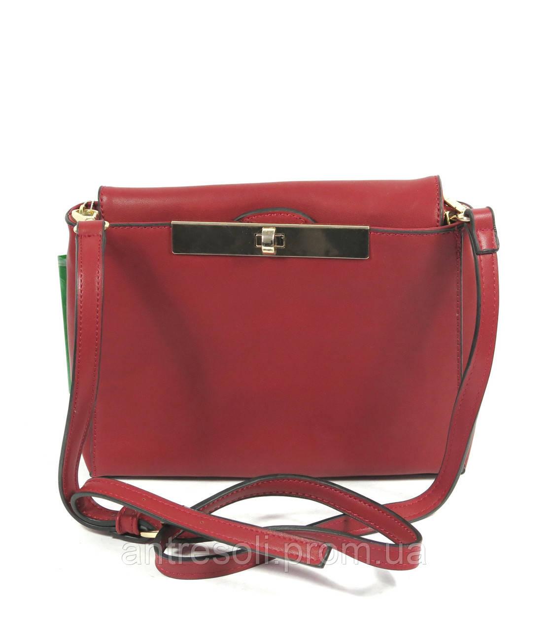Маленькая женская сумка через плечо красная