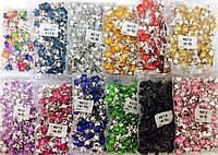 Камни пришивныецветок, диаметр 12мм, 144шт в каждой упаковке, (набор 12 упаковок)