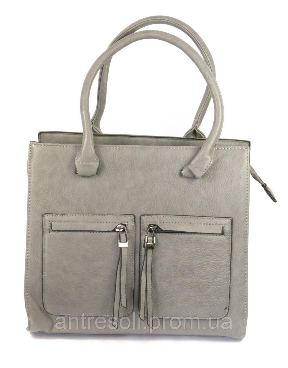 Женская серая сумка папка
