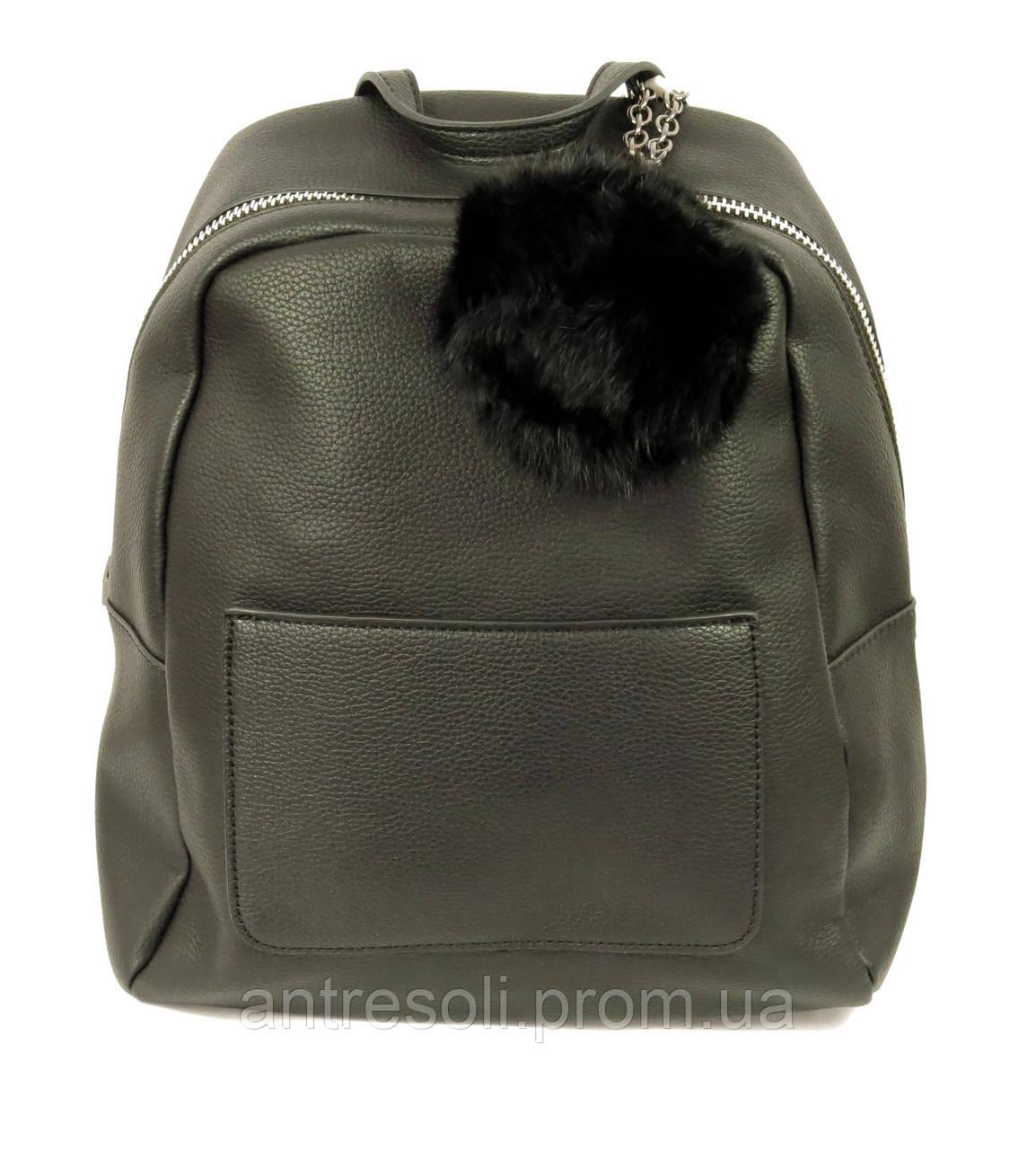 Рюкзак черный женский эко-кожа