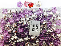 Камни пришивные цветок, диаметр 12мм, 144шт в упаковке, цвет сиреневый