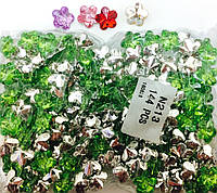Камни пришивные цветок, диаметр 12мм, 144шт в упаковке, цвет салатовый