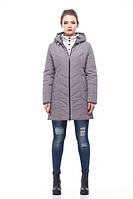 Женская зимняя куртка на молнии ниже бедра,антрацитовый цвет, размеры 46-58
