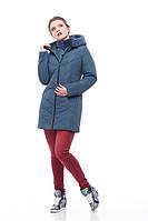 Серо-синяя зимняя куртка на молнии с манишкой и отделкой из кролика , размеры 46-58