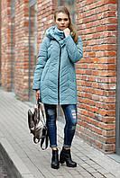 Женская зимняя куртка на молнии ниже бедра,аквамариновый цвет, размеры 46-58