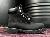 Зимние мужские ботинки Timberland 6 inch Black С МЕХОМ (Тимберленд) черные