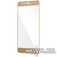 Защитное стеклo на Huawei P10 Lite золотое глянцевое
