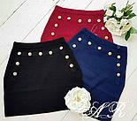 Женская модная короткая юбка с декором пуговицами (3 цвета), фото 2