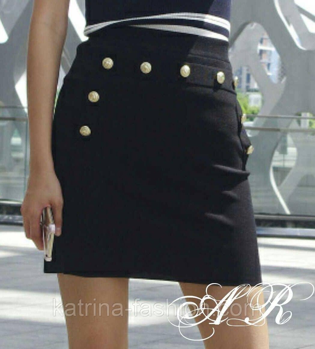 Женская модная короткая юбка с декором пуговицами (3 цвета)