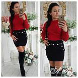 Женская модная короткая юбка с декором пуговицами (3 цвета), фото 4