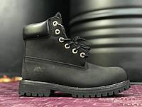Зимние ботинки Timberland Black fur с мехом. Живое фото. Топ качество! (Реплика ААА+)