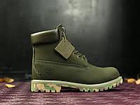 Ботинки Timberland Classiс 6 inch green camo без меха. Живое фото (Реплика ААА+)